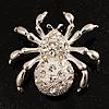 Diamante Spider Brooch (Silver Tone)