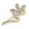 Gold Plated Diamante Floral Brooch
