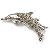 Silver Plated Crystal 'Mother & Baby Dolphin' Brooch