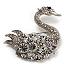 Rhodium Plated Diamante Swan Brooch (Clear)