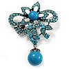Light Blue Diamante Precious Heirloom Charm Brooch (Burn Silver Tone)