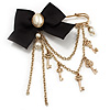'Bow, Tassel, Key & Simulated Pearl Bead' Charm Gold Tone Safety Pin Brooch (Catwalk - 2014)