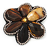 Gigantic Amber Coloured Acrylic Stone Flower Brooch (Catwalk - 2014)