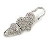 Vintage Swarovski Crystal Heart Pin Brooch (Silver Finish)