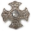 Vintage Filigree Swarovski Crystal Cross Brooch (Silver Tone)