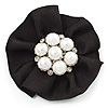 Black Satin Faux Pearl Flower Brooch