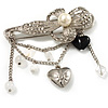 'Simulated Pearl Flower, Heart & Acrylic Bead' Charm Safety Pin Brooch (Silver Tone)