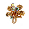 Tiny Light Citrine Crystal Clover Pin Brooch (Gold Tone)
