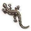 Large Vintage Diamante Lizard Brooch (Silver Tone)