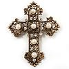 Large Victorian Filigree Imitation Pearl Crystal Cross Brooch (Antique Gold)