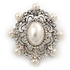 Silver Tone Filigree Light Cream Simulated Pearl Corsage Brooch - 60mm L