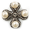 Vintage Imitation Pearl Crystal Cross Brooch (Antique Silver)
