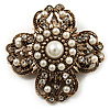 Vintage Filigree Simulated Pearl Cross Brooch (Antique Gold)