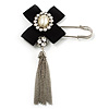 Crystal Tassel Silk Bow Safety Pin Brooch (Silver Plated )