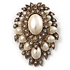 Oversized Vintage Corsage Imitation Pearl Brooch (Antique Gold)