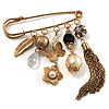 'Tassel, Leaf, Butterfly, Flower & Bead' Charm Safety Pin (Gold Tone)