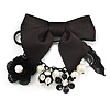 'Bow, Rose, Crystal Ball & Simulated Pearl Bead' Charm Black Tone Safety Pin Brooch (Catwalk - 2014)
