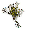 Olive Green Crystal 'Leaping Frog' (Silver Tone Metal)