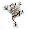 Clear Crystal 'Leaping Frog' (Silver Tone Metal)