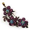 Swarovski Crystal Floral Brooch (Antique Gold & Deep Purple)