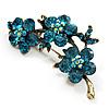 Top Grade Austrian Crystal Floral Brooch (Gold Tone & Teal Blue) - 55mm Across