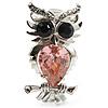 Silver Tone Stunning CZ Owl Brooch (Pink & Navy Blue)