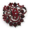 Burgundy Red Diamante Corsage Brooch (Black Tone)