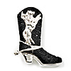 Silver Black 'Crystal Cowboy Boot' Brooch