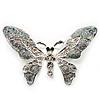 Glittering Silver Tone Diamante Butterfly Brooch
