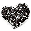'White Rose In The Black Crystal Heart' Brooch (Gun Metal)