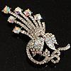 Clear Swarovski Crystal Floral Brooch (Silver Tone Metal)
