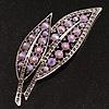 Large Lavender Diamante 'Leaf' Pin/Pendant (Silver Tone)