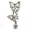 Diamante Charm Butterfly Brooch (Silver Tone)