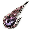Large Purple Crystal Prawn Brooch (Silver Tone Metal)