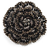Spectacular Black Dimensional Rose Brooch (Antique Silver Tone)