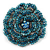 Spectacular Aqua Blue Dimensional Rose Brooch (Antique Silver Tone)