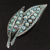 Large Light Blue Diamante 'Leaf' Pin/Pendant (Silver Tone)
