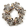 Antique Gold Clear Crystal Wreath Brooch