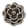 Large Vintage Dimensional Diamante Flower Brooch (Bronze Tone Metal)