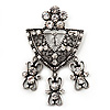 Vintage Crystal Medal Style Charm Brooch (Antique Silver Metal)