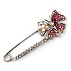 Rhodium Plated Pink Butterfly Safety Pin Brooch
