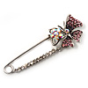 Rhodium Plated Purple Butterfly Safety Pin Brooch