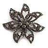 Dim Grey Swarovski Layered Flower Brooch (Gun Metal Finish)