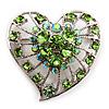 Silver Plated Apple Green Crystal Filigree Heart Brooch