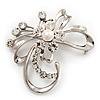 Delicate Clear Crystal Floral Brooch (Silver Tone Metal)