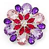 Dazzling Jewel Floral Corsage Brooch In Rhodium Plated Metal - 6.5cm Diameter