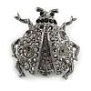 Black Crystal Ladybug Brooch (Silver Tone)
