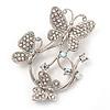 Diamante Butterfly Wreath Brooch (Silver Tone Metal)