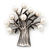 Antique Silver Faux Pearl Tree Brooch (Vintage Style)