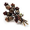 Vintage 'Bouquet of Flowers' Brooch In Bronze Metal